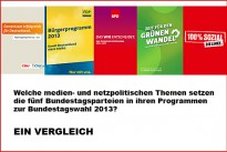 <h4>Medien- und Netzpolitik:</h4>Die medien- und netzpolitischen Schwerpunkte der Bundestagsparteien sind vielfältig